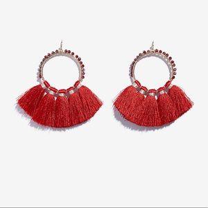 Express beaded tassel drop earring